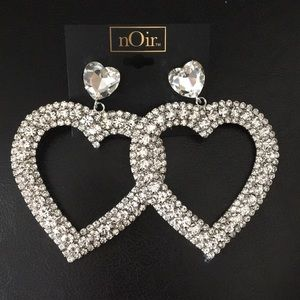 Noir Bling Hearts and crystals Fancy Earrings